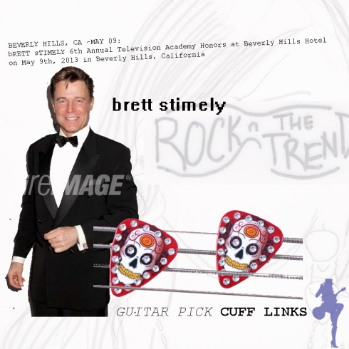 A photo montage of Brett Stimely Rock N The Trend in Red Skull Guitar Pick Cuff Links